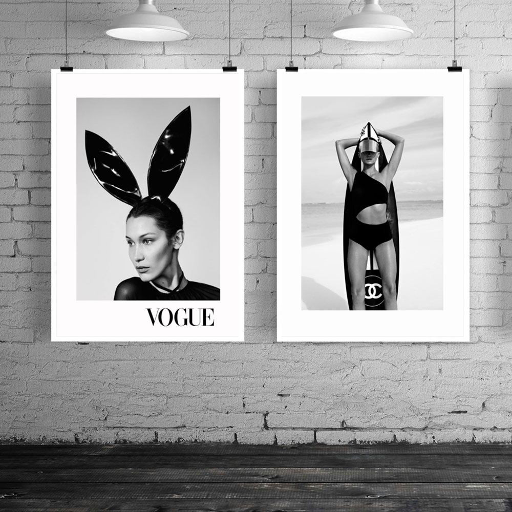 LECHAO Sexy Woman with Cute Rabbit Ears Posters and Prints Fashion Poster 5 Style for Living Room Canvas with Frame in Painting Calligraphy from Home Garden