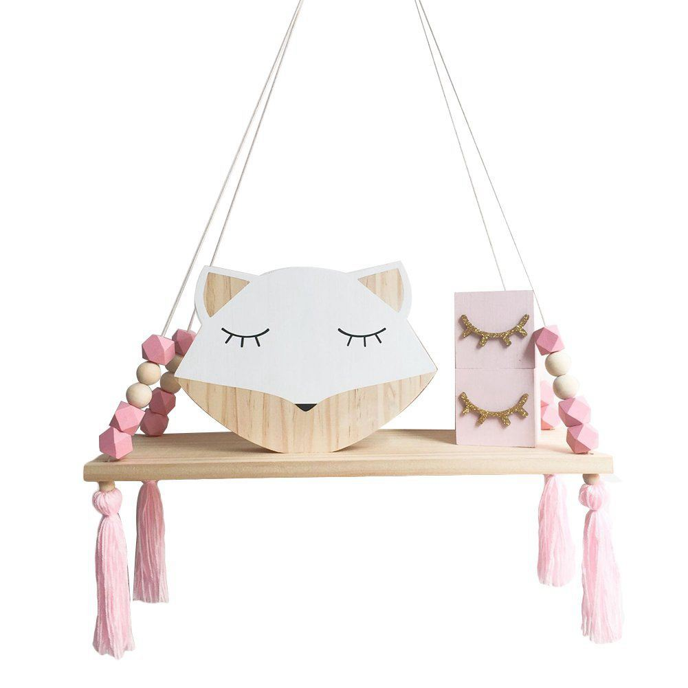 Wooden Wall Shelf Hanging Tassel Children Baby Nordic Style Wall Frame Pink
