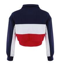 Pullover Shirt Zip Blouse Striped Long Sleeve PU27