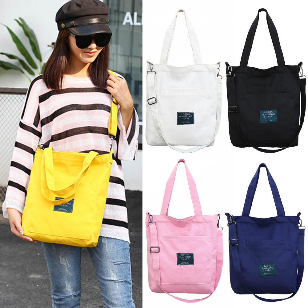 Canvas Handbag Women Shoulder Bag With Removable Strap Multi Pockets Crossbody Wear Resistant Casual Fashion Zipper Bag #1114