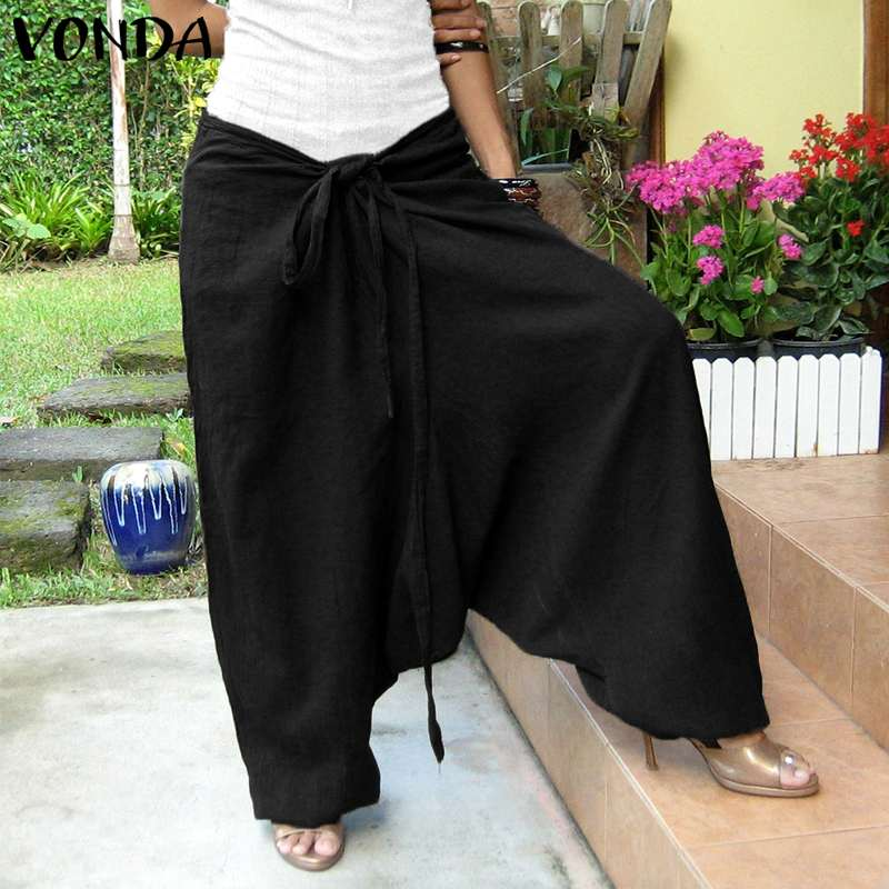 VONDA Women Casual   Pants   2019 Autumn Vintage Cotton Solid Loose Harem Trousers Bottoms Female Sexy   Wide     Leg     Pants   Plus Size