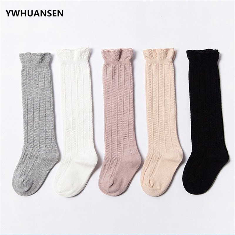 YWHUANSEN Cotton Baby Girls Boys Uniform Knee High Socks Tube Ruffled Stockings Infants And Toddlers Cartoon Seamless Leg Warmer