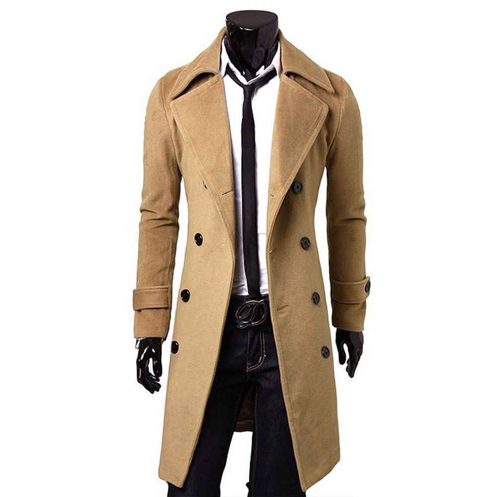 Модные для мужчин's длинный рукав Smart повседневное спецодежды ветровка пальто теплый толстый шерстяной Peacoat Длинные Одежда