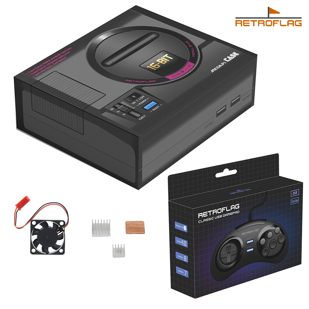 Retroflag MEGAPi Case with Game Controller Kit SEGA MEGA MD Style Retropie Game Console Kit for