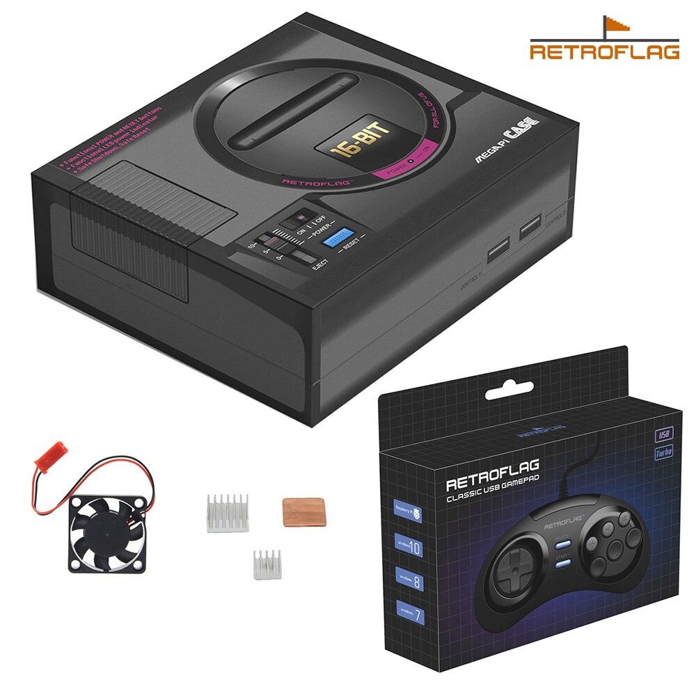 Boîtier MEGAPi rétroflag avec Kit de contrôleur de jeu, Console de jeu SEGA MEGA MD Style Retropie pour Raspberry Pi 3 modèle B + plus/3B