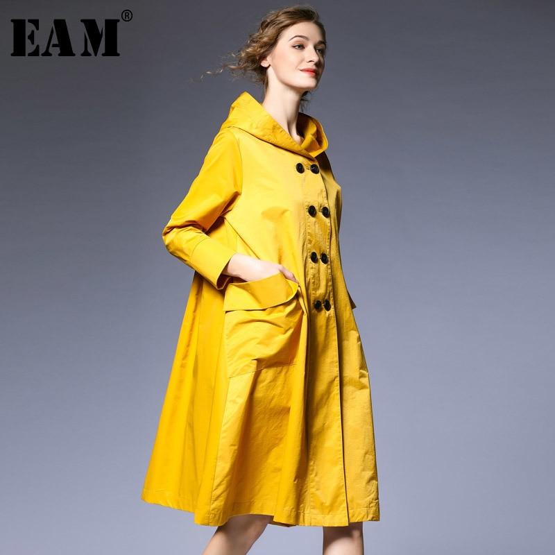 [EAM] 2019 New Spring Hooded Long Sleeve Balck Loose Long Hem Pleated Stitch Big Size Windbreaker Women Trench Fashion JO399