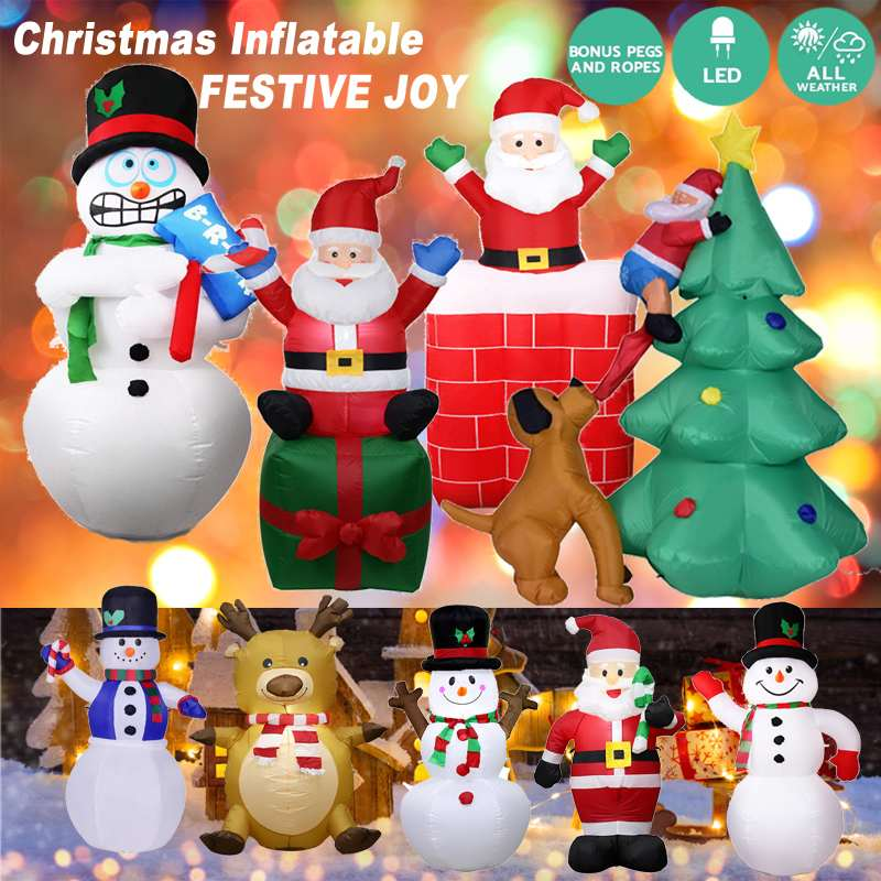 LED Inflatable Santa Claus Snowman Elk Christmas Decoration Outdoor Garden Home New Year Party Christmas ornaments Kids Gift