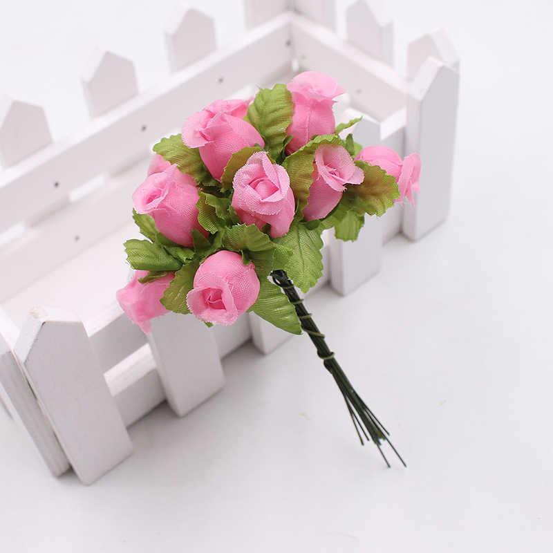 12 Cái/Bộ Bình Hoa Vòng Hoa Hoa Hồng Bó Hoa Giả Trang Trí Nhà Cửa Chất Lượng Cao Cho Đám Cưới Phổ Biến Bán Lụa DIY