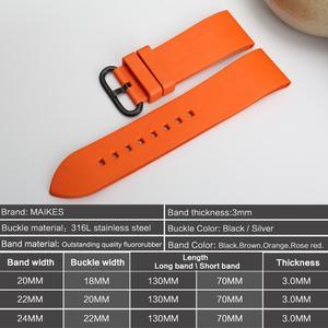 Image 2 - MAIKES Qualität fluororubber uhrenarmbänder 20mm 22mm 24mm Orange gummi uhr strap band uhr zubehör für sport tauchen uhren