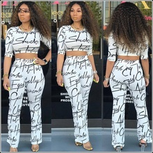 Casual White Crop Tops Flare Trousers 2 Two Piece Set Letter Print Women Half Sleeve Short Pullovers High Waist Long Pants SETS цена