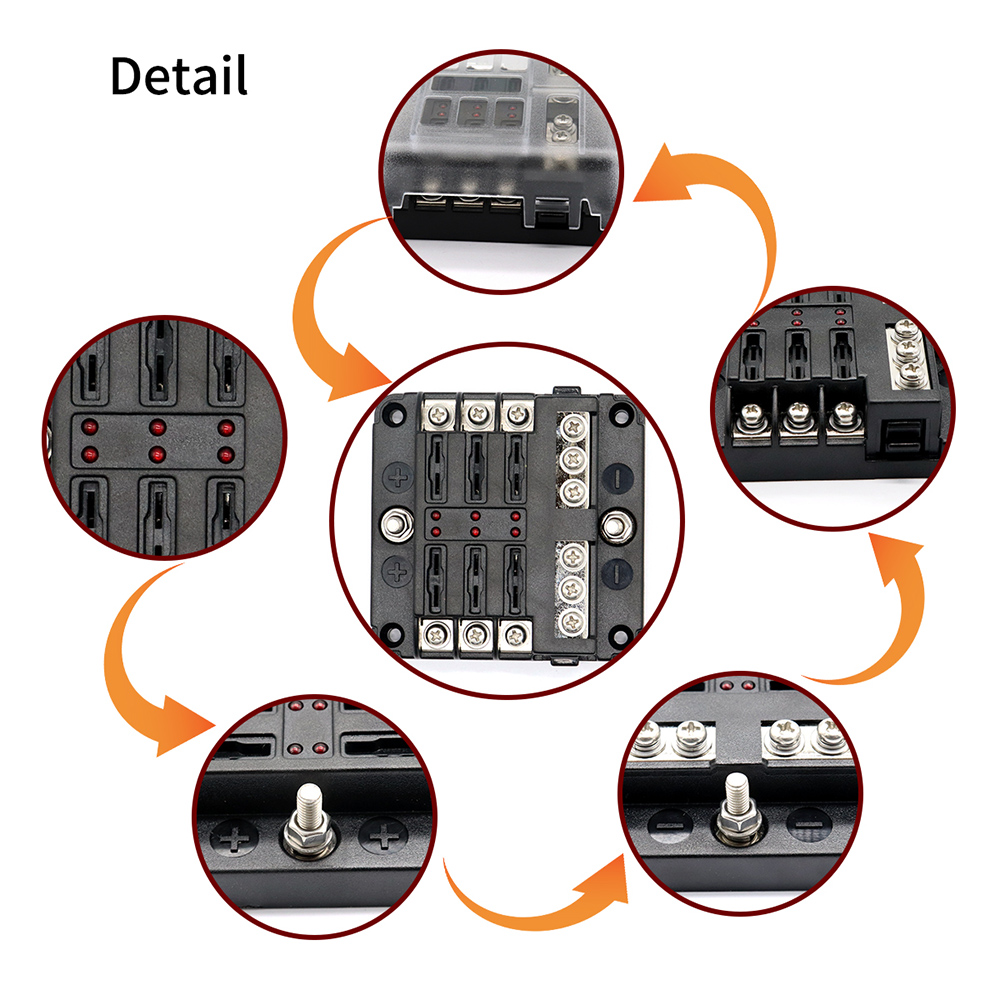 Image 4 - Automotive 12V 6 Way  LED Blade Holder Fuse Box Block Case with Negative-in Fuses from Automobiles & Motorcycles
