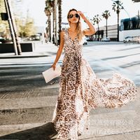 TryEverything Long Leopard Dress Women 2019 Maxi Dress Summer Boho Beach Dress Sleeveless Tunic Bohemian Style Dresses For Women