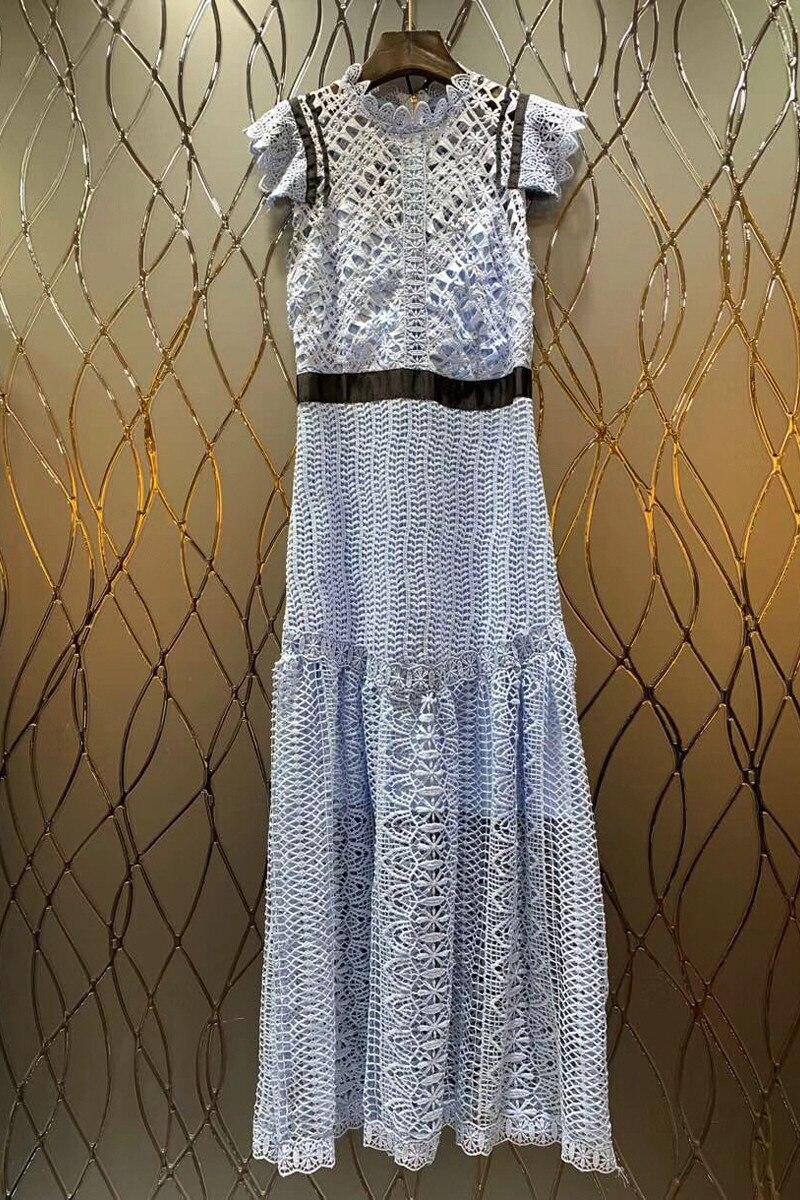 2019 Sping Haute Qualité Bleu Dentelle Maxi Robe Femmes Designer Piste Évider Sarafan Femme Beach Party Robes Longues Vêtements