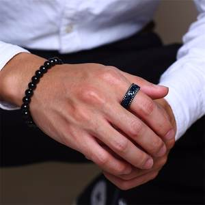 Center Spinner Chain Gear-Edge Wedding-Band Meditation Mens Ring Stainless-Steel Black