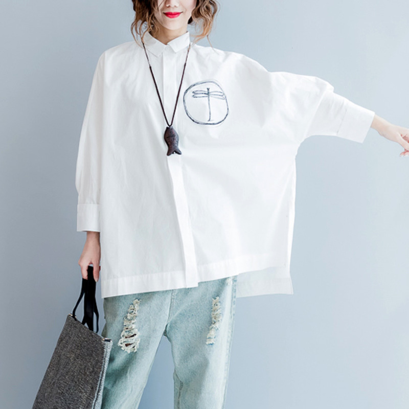 #5742 Spring Casual Bat Long Sleeve Shirt Women Printed Long White Blouse Shirt Cotton Plus Size Loose Vintage Tunic Side Split