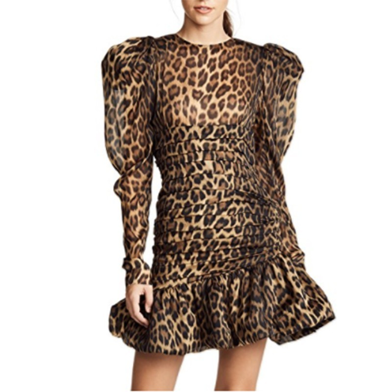 MENKAY Print Leopard Dress Female O Neck Puff Long Sleeve Mermaid For Women Vintage Fashion