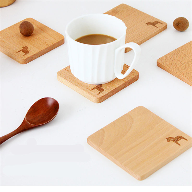 1 PC Wooden Table Coaster Anti Hot Pad Animal Pattern Table Placemat Round Dining Table Mat Kitchen Table Decoration 10*10*0.8cm
