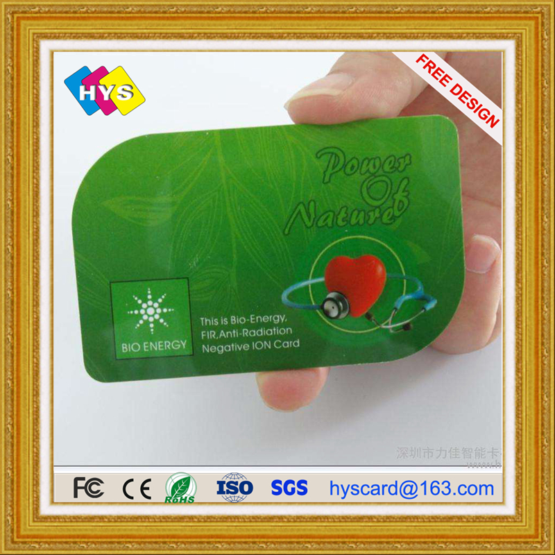Nano bio energy health card and Bio Energy Card,PVC Plastic Anti Radiation Card supply uv ink printed barcode card and plastic member key card 3 part supply