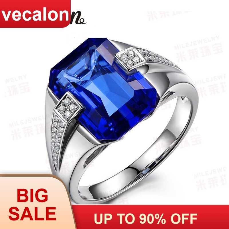 Vecalon ยี่ห้อผู้ชายแฟชั่นเครื่องประดับแหวน 6CT หิน 5A Zircon CZ 925 เงินแหวนนิ้วมือ