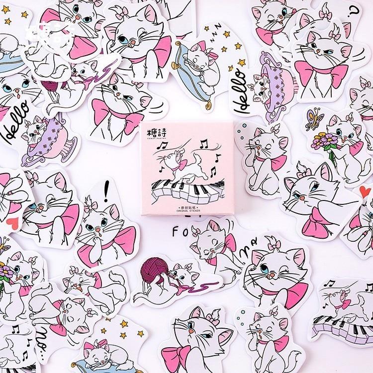 45PCS/box New Maiden Cat Paper Lable Sealing Stickers Crafts Scrapbooking Decorative Lifelog DIY Stationery Sticker
