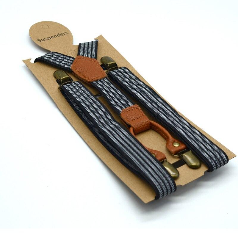 Adult Men's Long Four-clip Strap 2.5CM Striped Pants Shoulder Strap Elastic Elastic Trousers Suspenders
