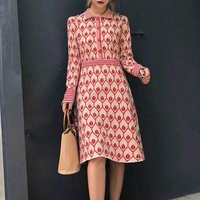 2018 Winter Sweet Red Ladybug Print Women Knitted Dress Runway Designer Long Sleeve Female Party Sweater Dresses Clothing