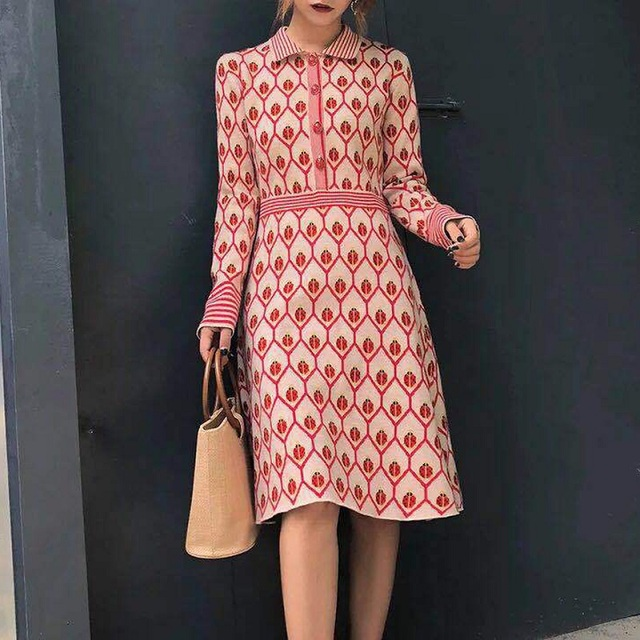 2019 Summer Sweet Red Ladybug Print Women Knitted Dress Runway Designer Long Sleeve Female Party Sweater Dresses Clothes