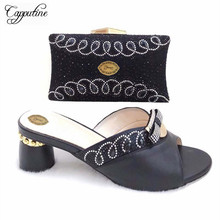 Capputine Wholesale African Elegant Slipper Shoes And Matchign Bag Set Fashion Nigerian Wedding Pumps Shoes And Set On Sale