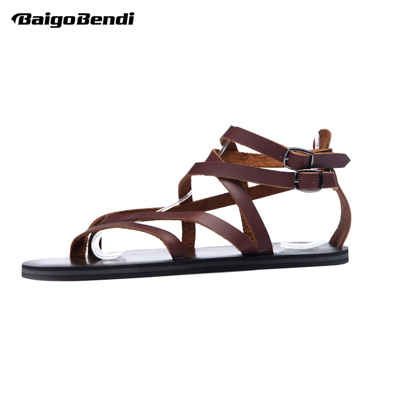 Rome Sandals Mens Cross-tied Buckle Strap Vietnam Summer Beach Shoes Genuine Leather Man Casual Narrow Band Flip Flop Shoes