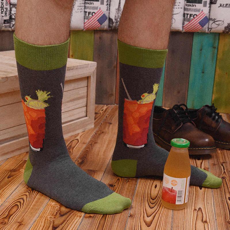 Männer Socken Mode Cartoon Cola Rot Wein Gitarre Bike Anker Lustig Harajuku Hip Hop Street Style Glücklich Casual Skate Baumwolle socken