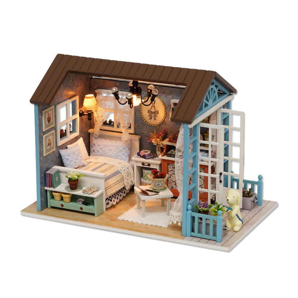 Fashion DIY Mini Loft Dollhouse Kit Realistic Wooden House Toy Furniture Christmas Gift