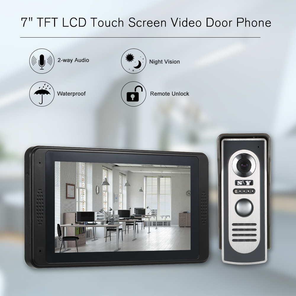 Wired Video Doorbell 7 TFT LCD Touch Screen Video Door Phone with 1 Camera 1 Monitor