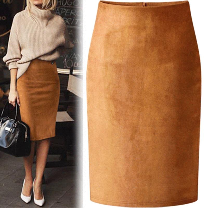 Sexy multi cor camurça midi lápis saia feminina 2019 moda elástico de cintura alta escritório senhora bodycon saias saias