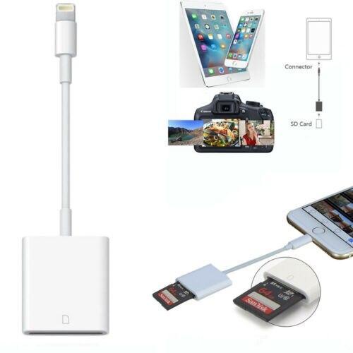 Lector de tarjetas USB Cámara SD lector de tarjetas TF adaptador de Cable para el iPhone 8 Plus 6S Apple iPad Pro de aire Mini 3B04 DM CR015 Lector de Tarjetas Micro SD con ranura para tarjeta TF innovadora cambiar el lector de tarjetas a una unidad flash usb para ordenador o coche