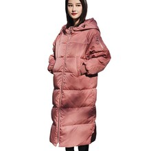 Women Winter Pink Down Parka Hooded Warm Long White Duck Down Jacket Female 2018 New Color Fashion Feather Coat Outerwear HJ101 все цены