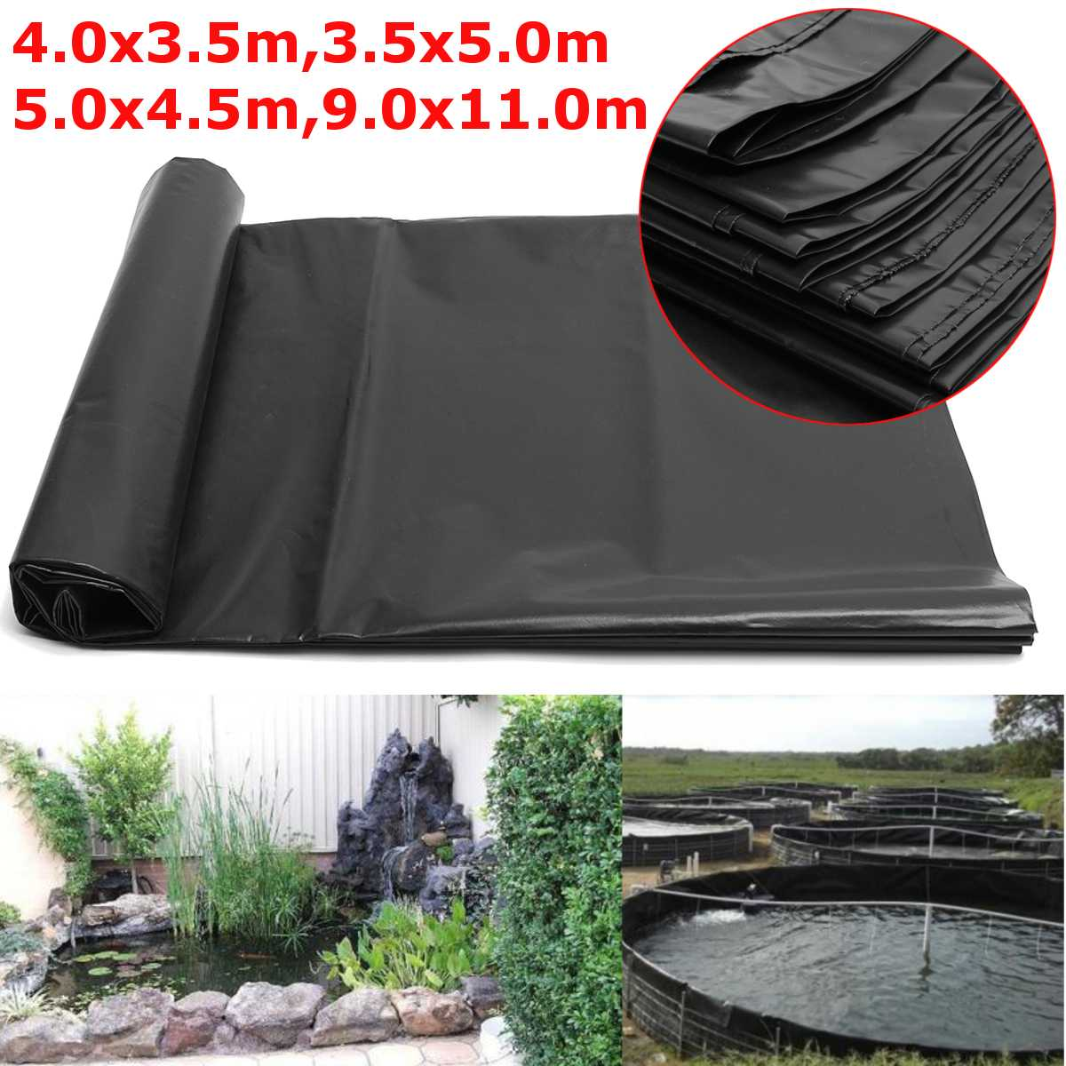 4 Size Black Fish Pond Liner Cloth Home Garden Pool Reinforced HDPE Heavy   Landscaping Pool Pond Waterproof Liner Cloth New