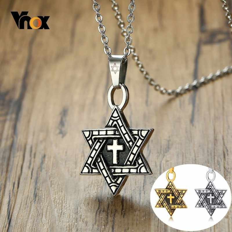 Vnox Men Star of David Necklace Silver and Gold Tone Stainless Steel Six Pointed Megan Star Cross Pendant collar masculino