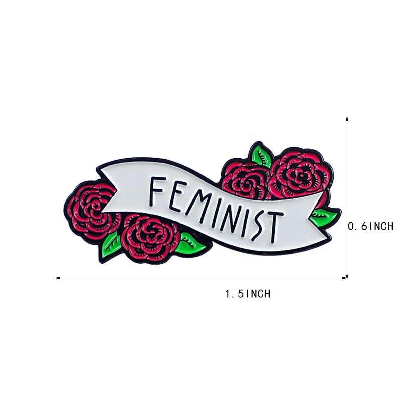 LNRRABC Rosa Rossa Floreale Femminista Spilli Distintivi e Simboli Spille Smalto Risvolto Spille Zaino Sacchetto Accessori Regalo per Le Donne ragazze