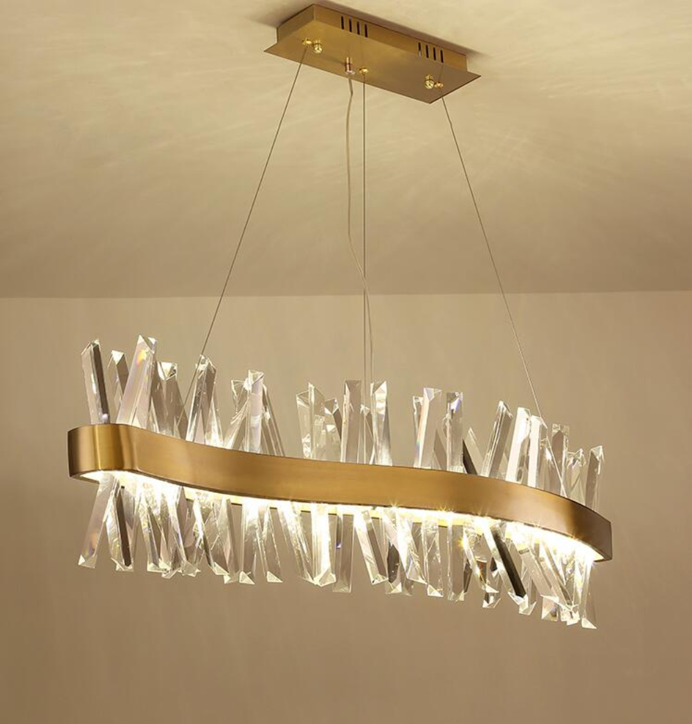 Nordic crystal chandelier rectangular restaurant light S shaped luxury bar decoration lamp L150cm