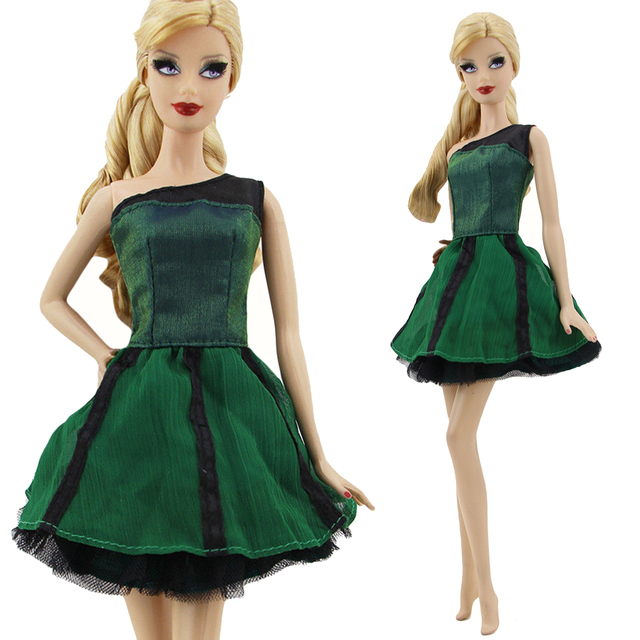 Single Shoulder Green Mini Dress Princess Ballet Dinner Party Ball Gown  Elegant Doll Accessories Clothes for b2426fddf216