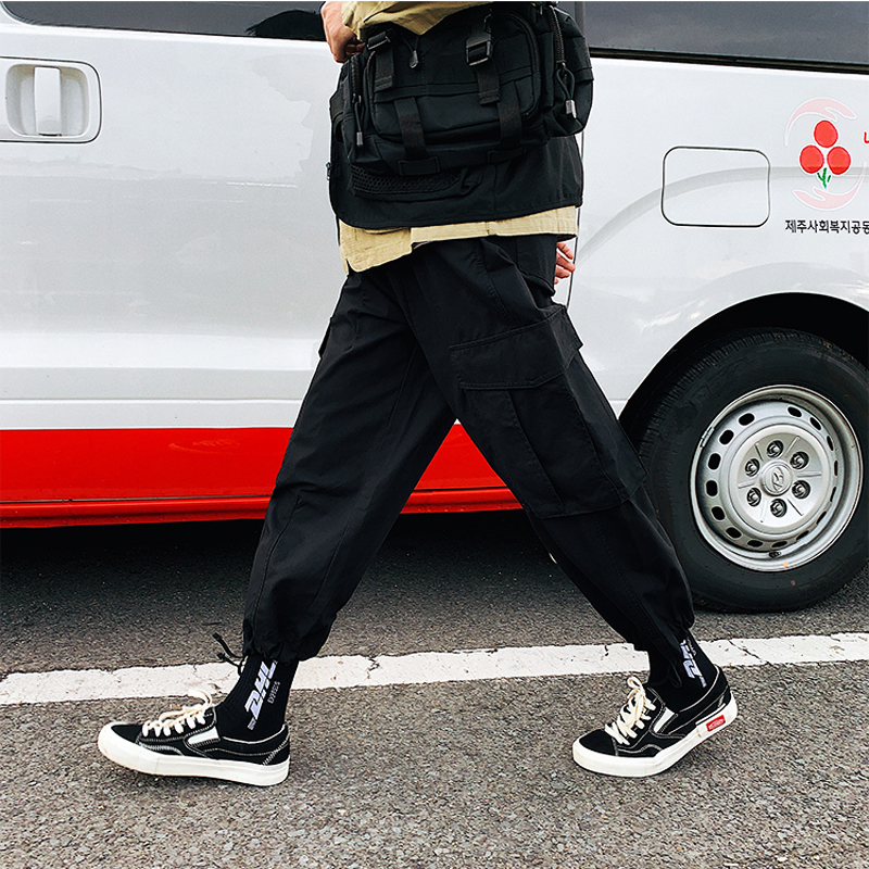 Men's Overalls 2019 Spring New Loose Straight Pocket Decorative Pants Personality Casual Pants Youth Men's Urban Style Pants