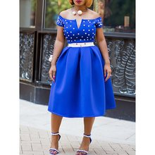 Sexy Club Elegant Women Party Dresses Plus Size Summer Blue Ladies Off Shoulder Backless Beading OL Female Fashion African Dress