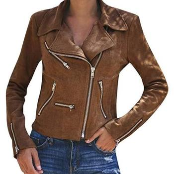 Pu Leather Jacket Women Ladies Coats Zip Up Leather Biker Jackets Casual Flight Top Outwear Coat Fashion Clothes