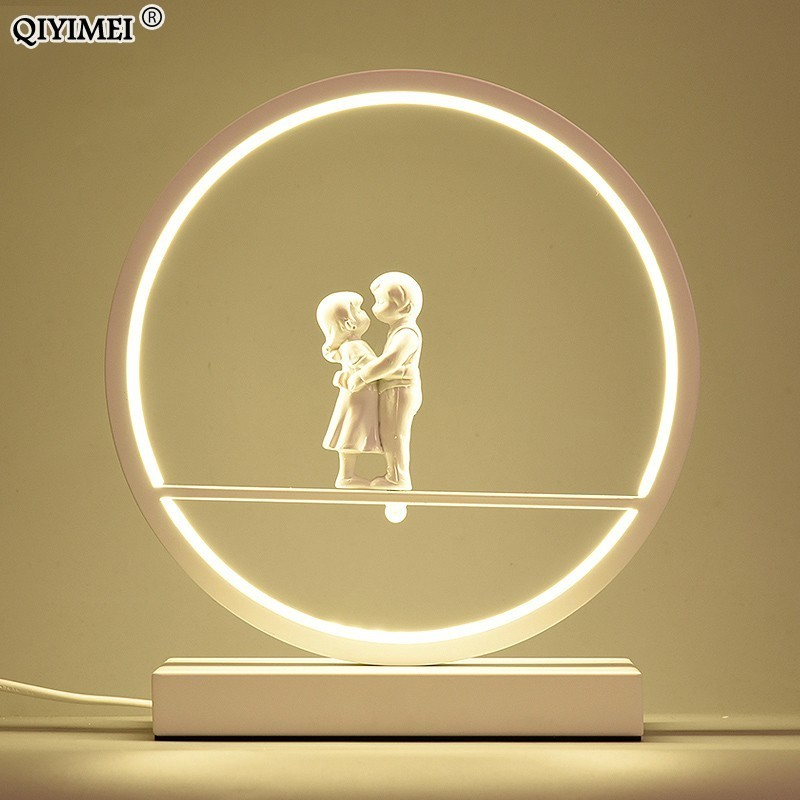 LED couples Table Lights for Bedside Bedroom Table Lamp Desk Light white black body Study Room Bedroom Lighting LED home fixture
