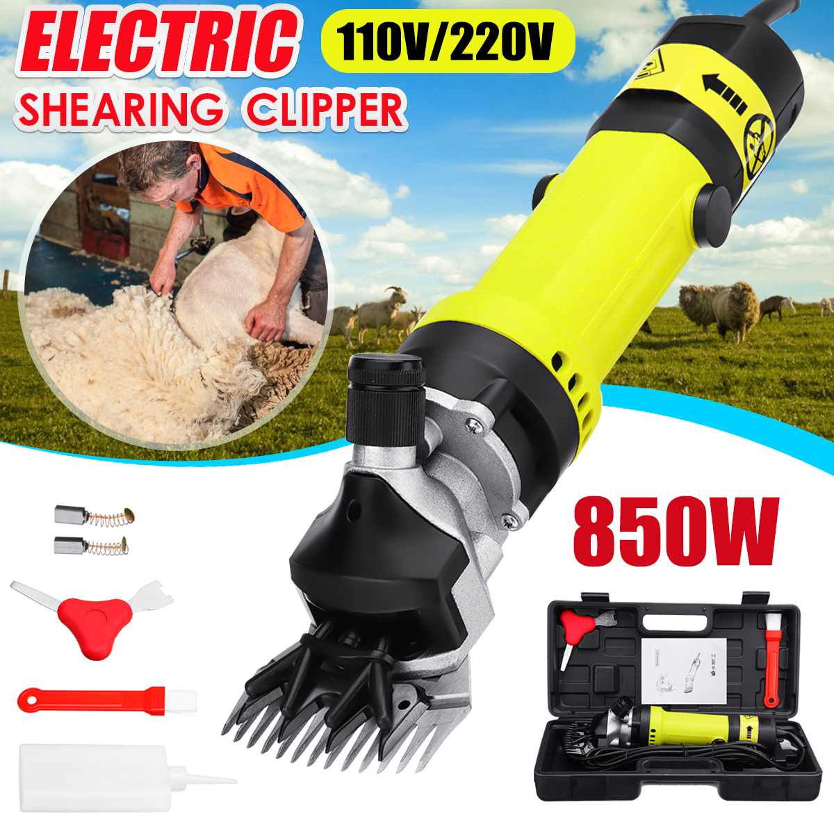 850W US/AU Plug Electric Sheep Dog Pet Hair Clipper Animal Shearing Supplies Goat Alpaca Farm Cut Machine w/Box Adjustable Speed