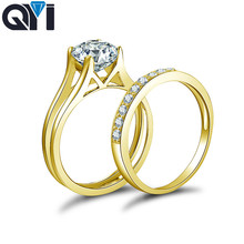 QYI Wedding Band Ring 14K Solid Yellow Gold Women Fashion Jewelry Round Sona Simulated Diamond Engagement Ring Set