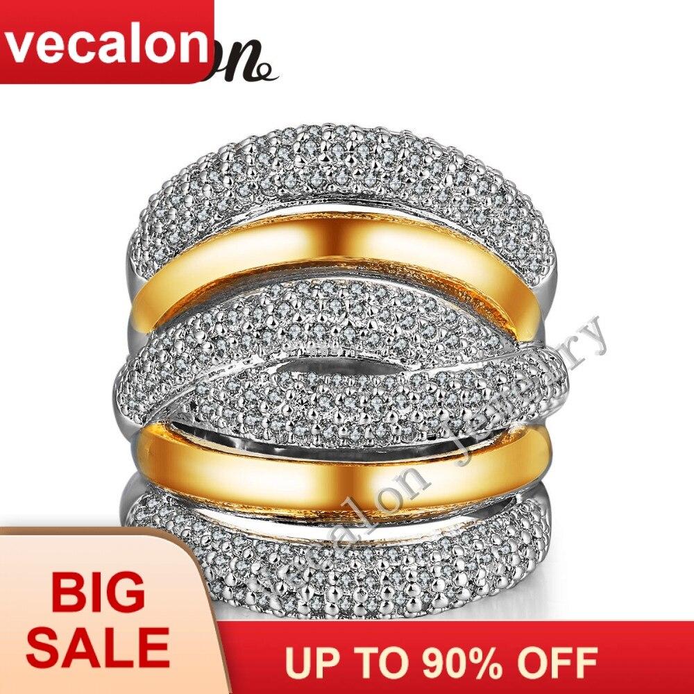Vecalon 234 pcs AAAAA pedra Zircão Cz Cruz anel de Casamento Noivado para As Mulheres 14KT Amarelo Branco Gold Filled Banda Feminina anel