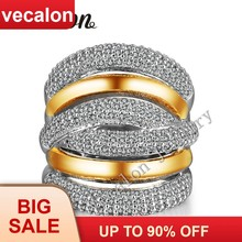 Vecalon 234pcs stone AAAAA Zircon Cz Cross Engagement Wedding ring for Women 14KT White Yellow Gold Filled Female Band ring(China)