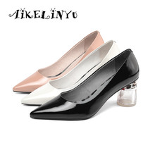 AIKELINYU 2019 Elegant Transparent Heel Women Pumps Pink Genuine Leather Autumn Shoes White Cusp Shallow Office Lady