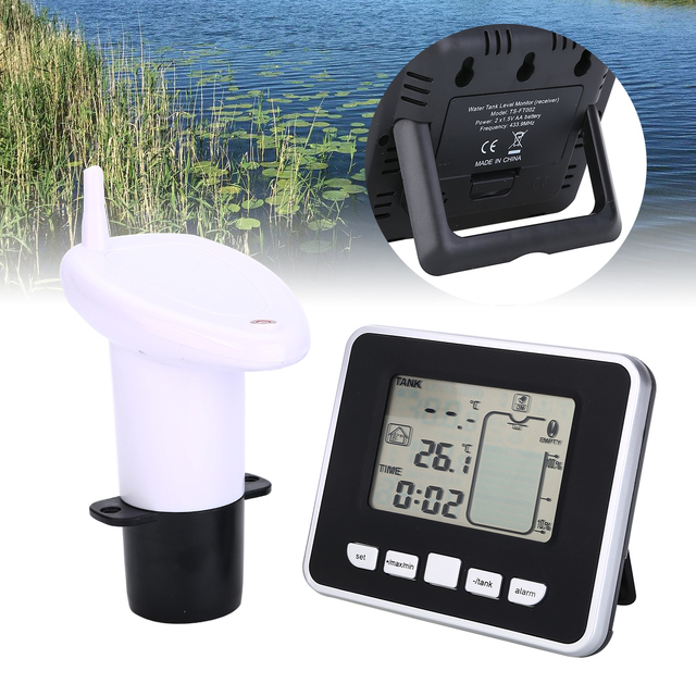 Ultradźwiękowy miernik poziomu wody w zbiorniku czujnik temperatury niski poziom naładowania baterii wskaźnik głębokości cieczy czas Alarm nadajnik narzędzia pomiarowe